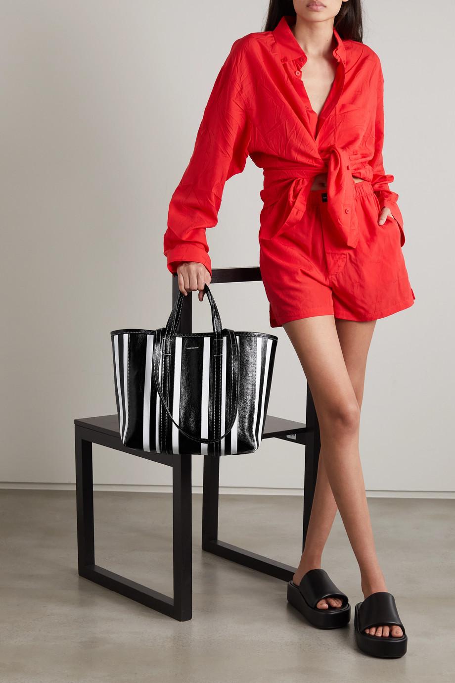 Balenciaga Sac à main en cuir texturé à rayures Neo Bazar