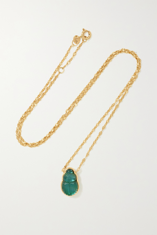 Lito - Small Sienna 14-karat gold chalcedony necklace