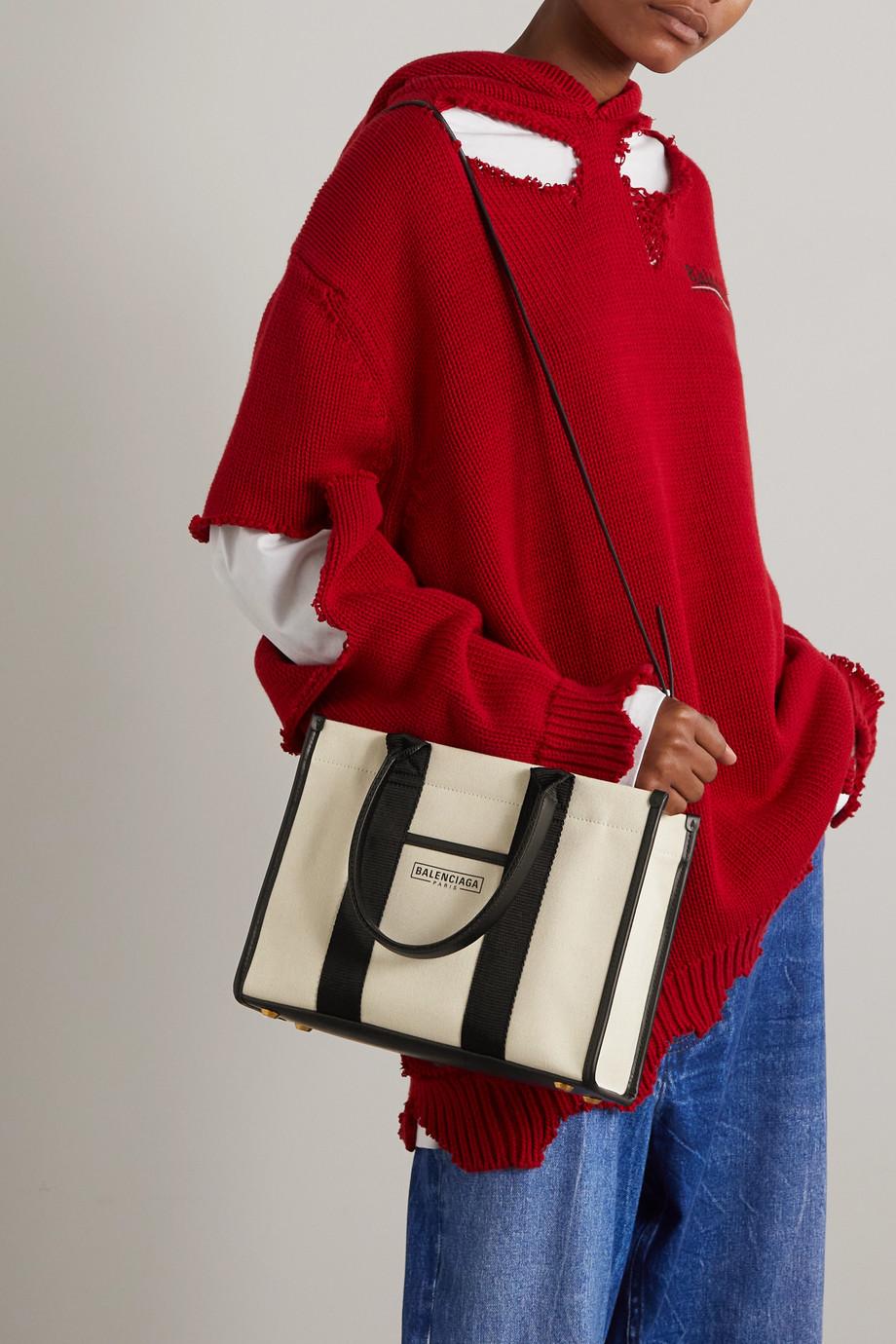 Balenciaga Sac à main en toile de coton biologique imprimée à finitions en cuir Neo Navy Small
