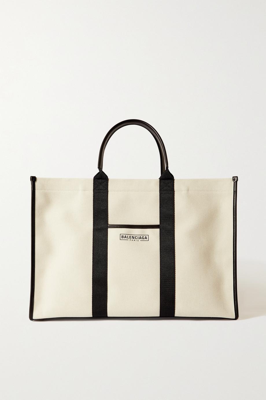 Balenciaga Sac à main en toile de coton biologique imprimée à finitions en cuir Neo Navy Large