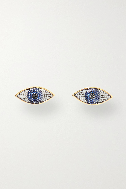 Begüm Khan Boucles d'oreilles en plaqué or et cristaux Nazar Mini