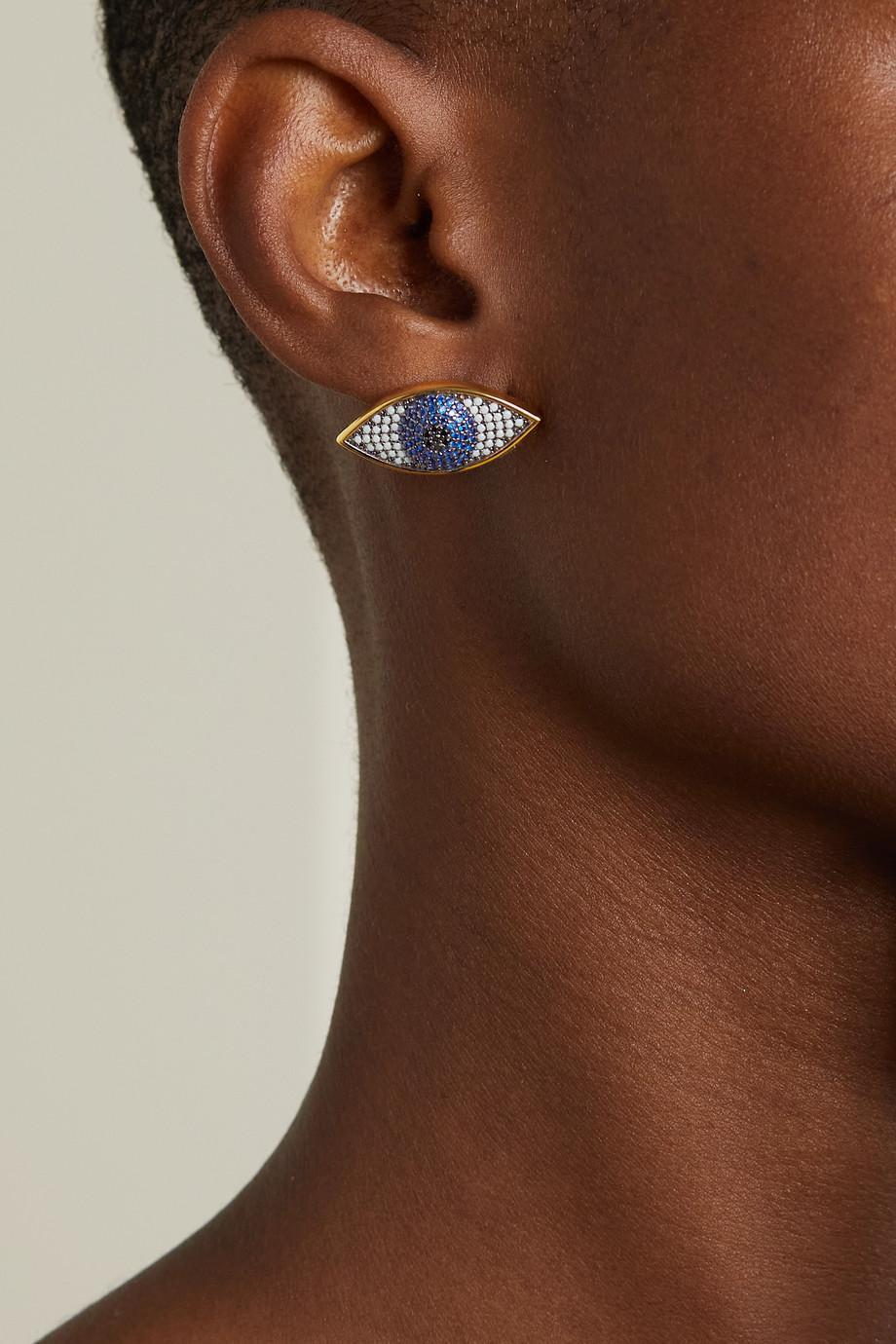 Begüm Khan Nazar mini gold-plated crystal earrings