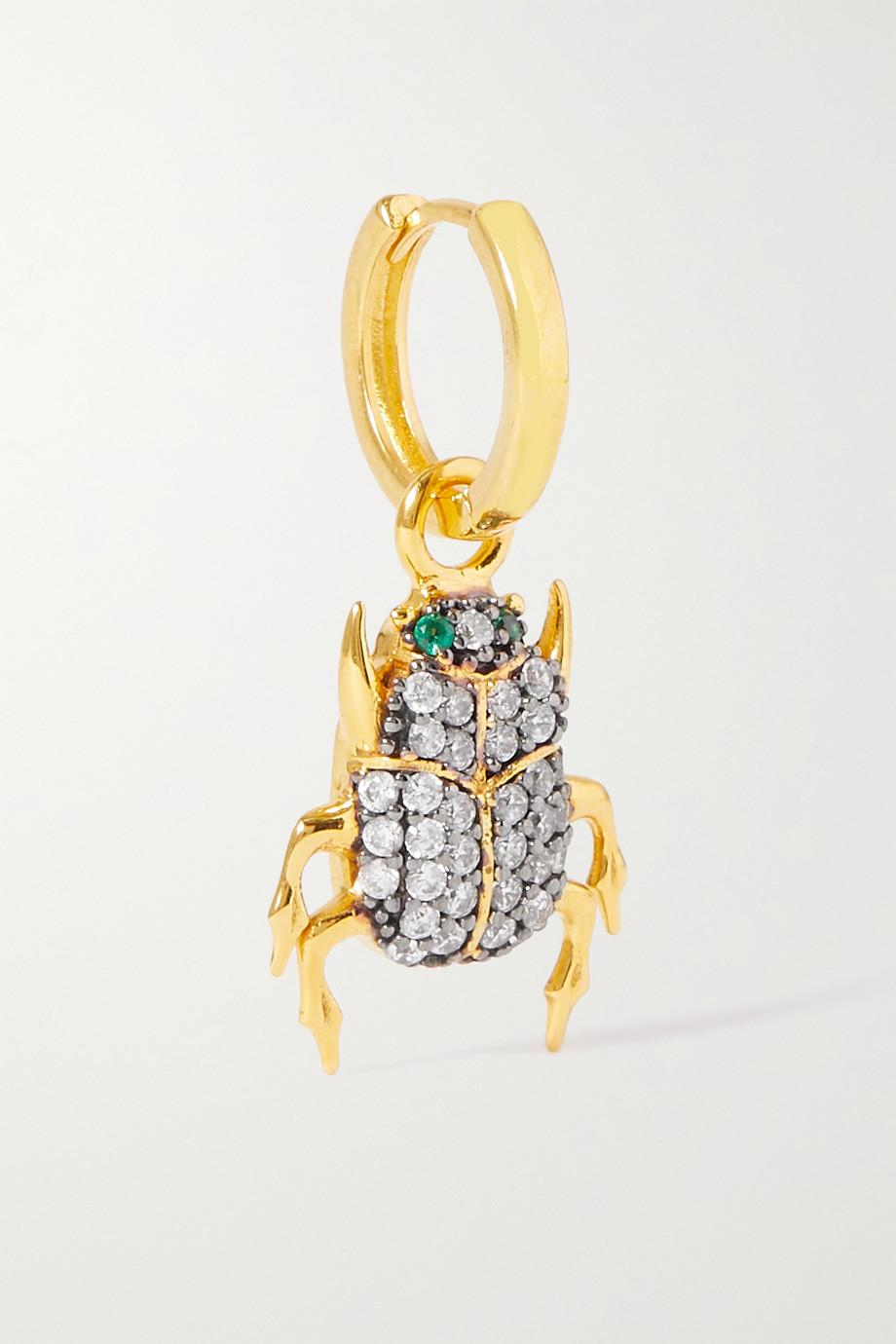 Begüm Khan Scarab gold-plated crystal single hoop earring
