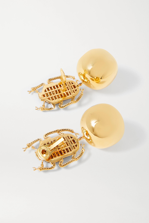 Begüm Khan Boucles d'oreilles clip en plaqué or et cristaux Pharaoh Party