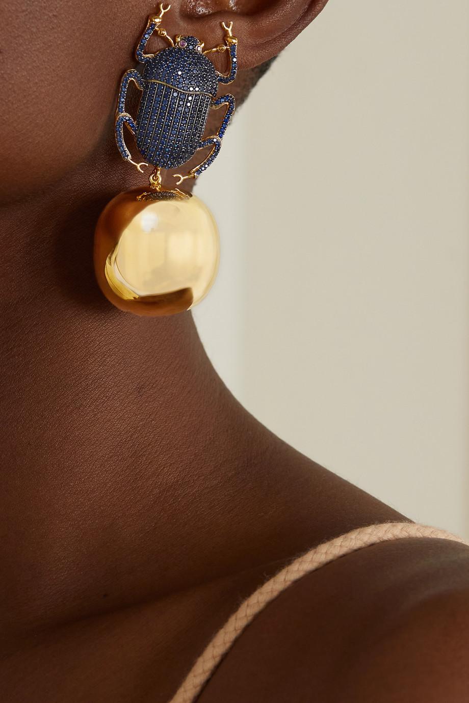 Begüm Khan Pharaoh Party gold-plated crystal clip earrings