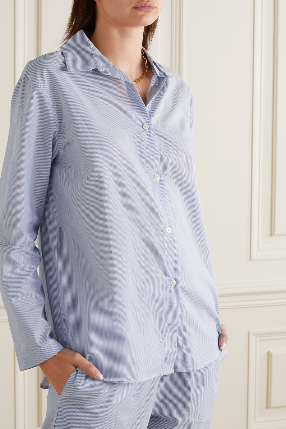 LESET Eve Oversized-Pyjama-Hemd aus gestreifter Baumwollpopeline