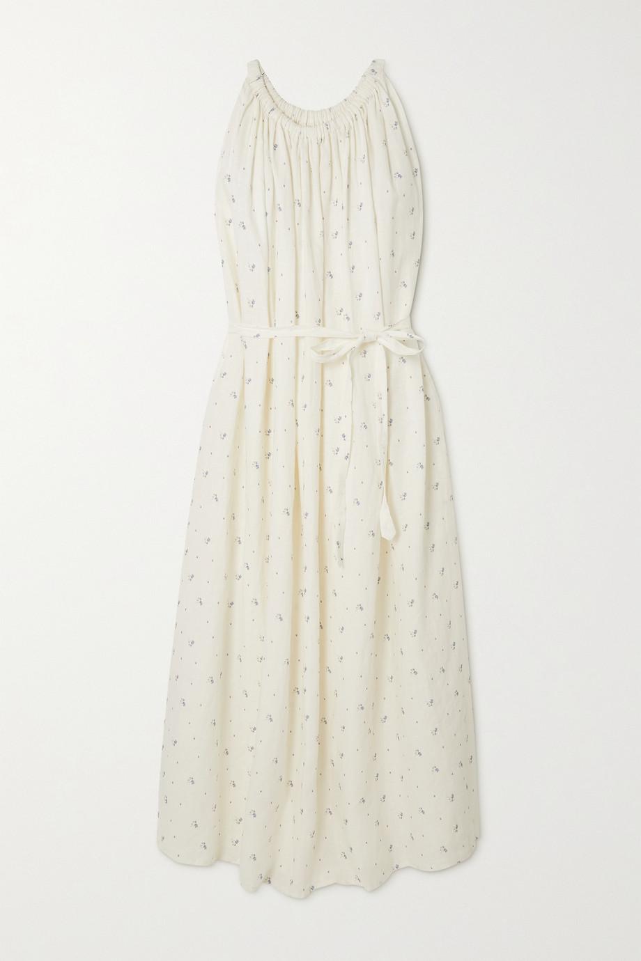 Deiji Studios Robe longue en lin lavé à imprimé fleuri et à fronces Totem - NET SUSTAIN