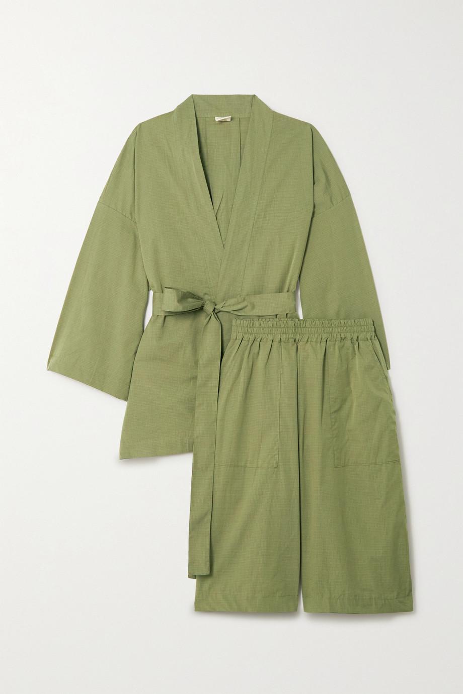 Deiji Studios + NET SUSTAIN Pyjama aus karierter Biobaumwollpopeline