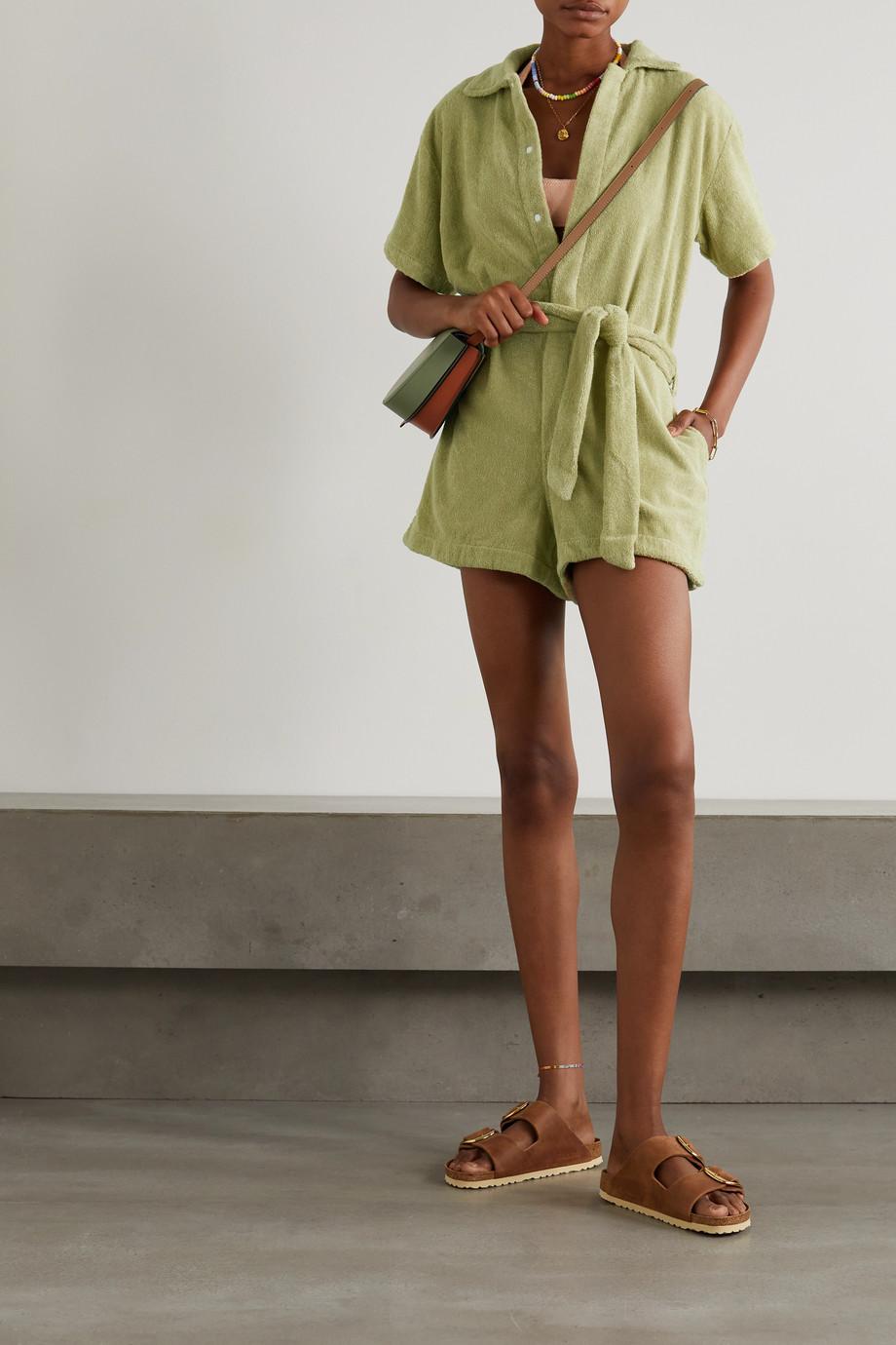 TERRY Jumpsuit aus Baumwollfrottee mit Bindegürtel