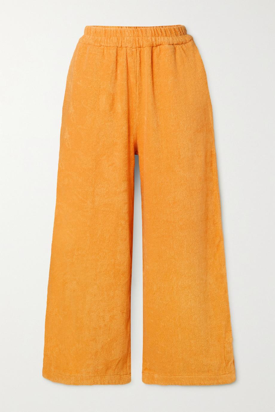 TERRY Capri Hose mit geradem Bein aus Baumwollfrottee