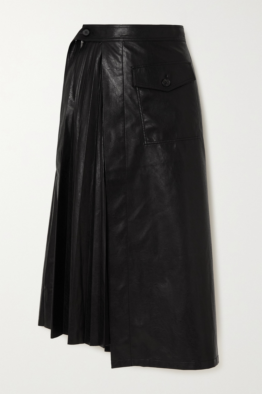 LVIR Jupe portefeuille asymétrique en cuir synthétique à plis