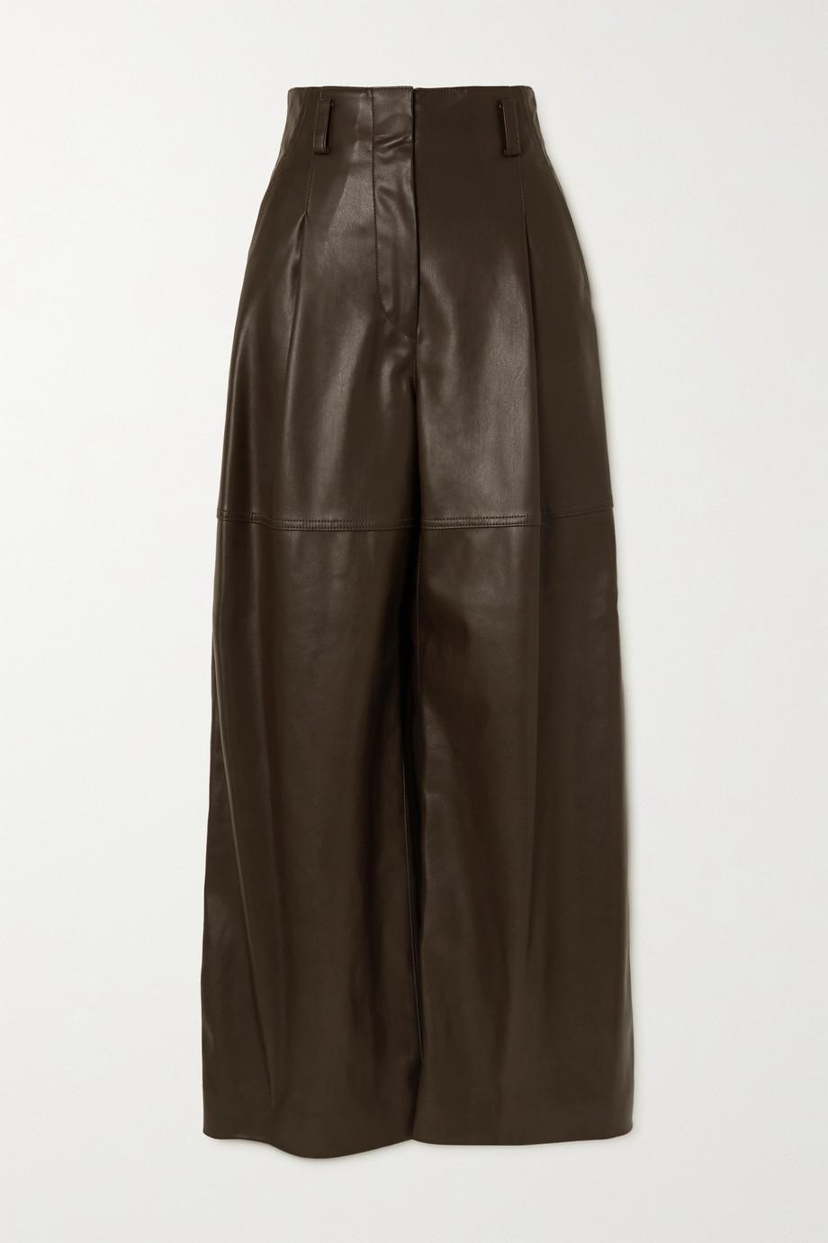 LVIR Pantalon large en cuir synthétique à plis