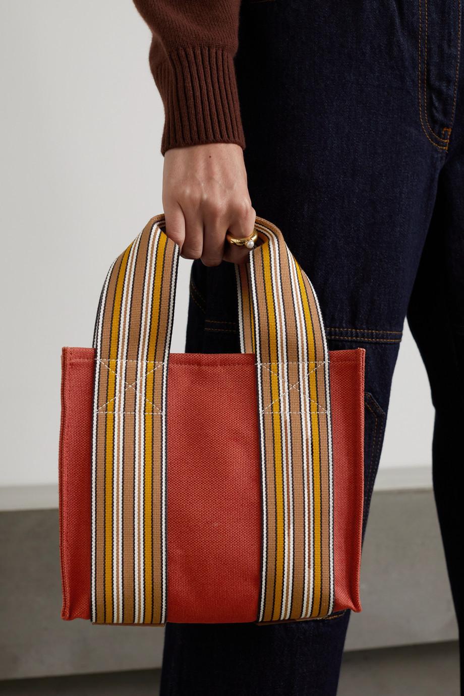 Loro Piana Suitcase mini Tote aus Canvas aus einer Baumwoll-Leinenmischung mit Streifen