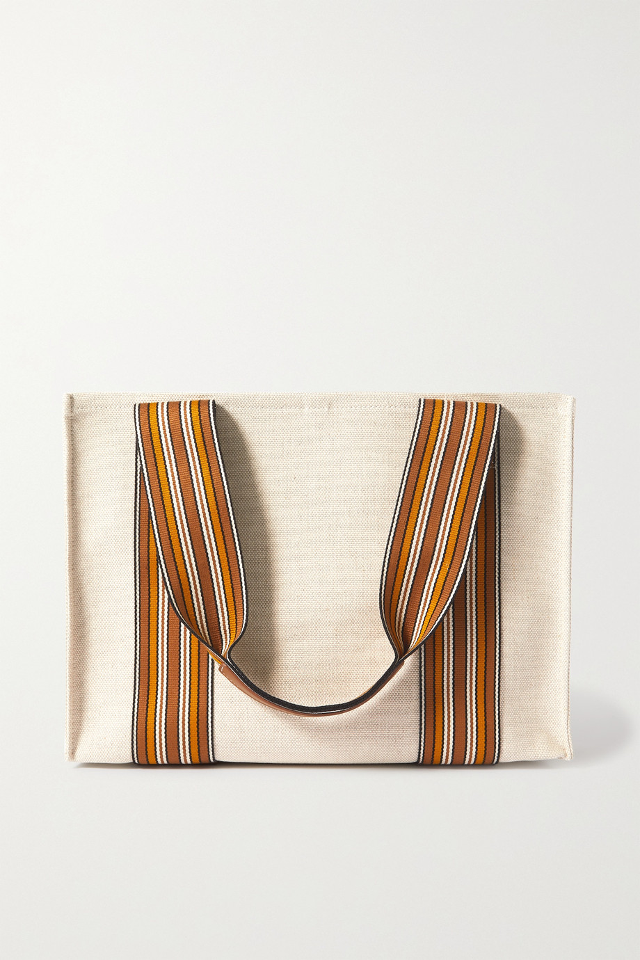 Loro Piana Suitcase small leather-trimmed striped canvas tote