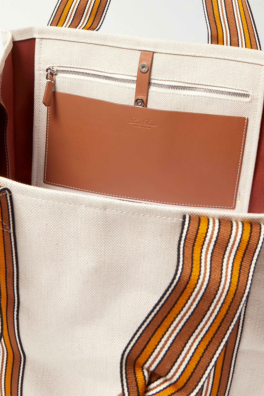 Loro Piana Suitcase mittelgroße Tote aus Canvas mit Streifen und Lederbesätzen
