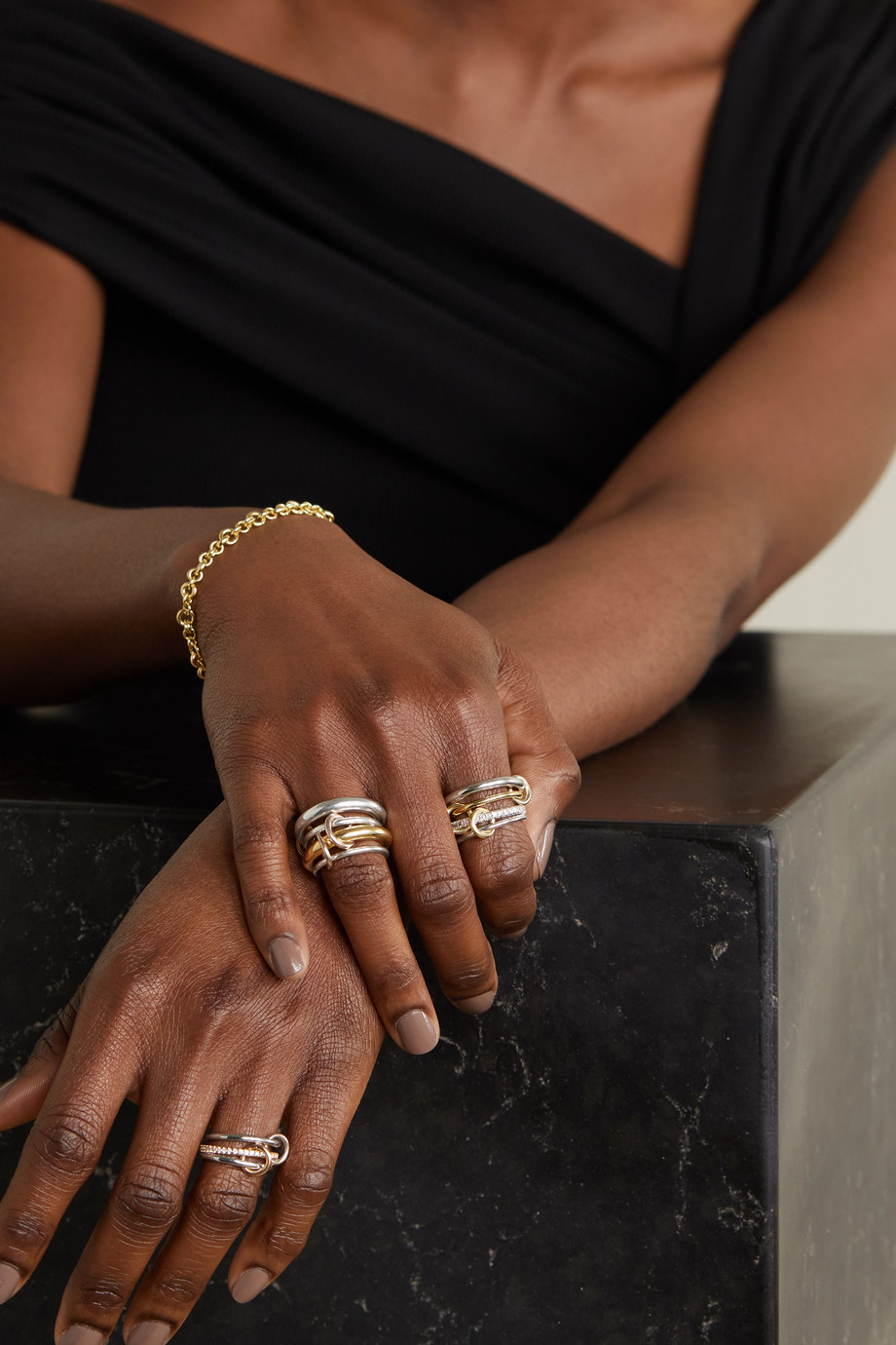 Spinelli Kilcollin Nimbus set of four sterling silver and 18-karat gold diamond rings