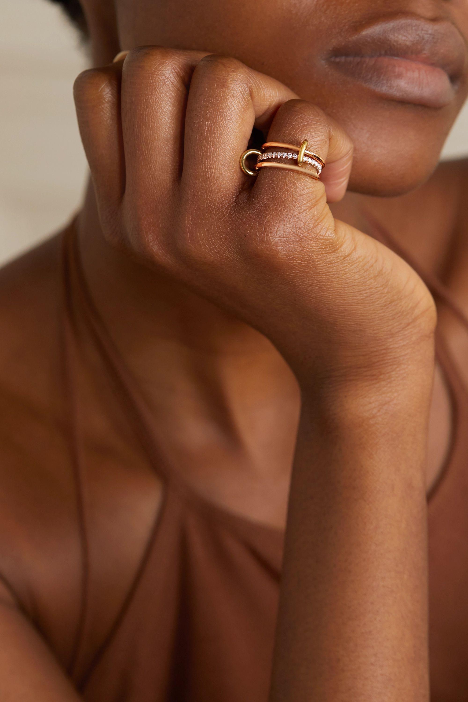 Spinelli Kilcollin Sonny set of three 18-karat rose and yellow gold diamond rings