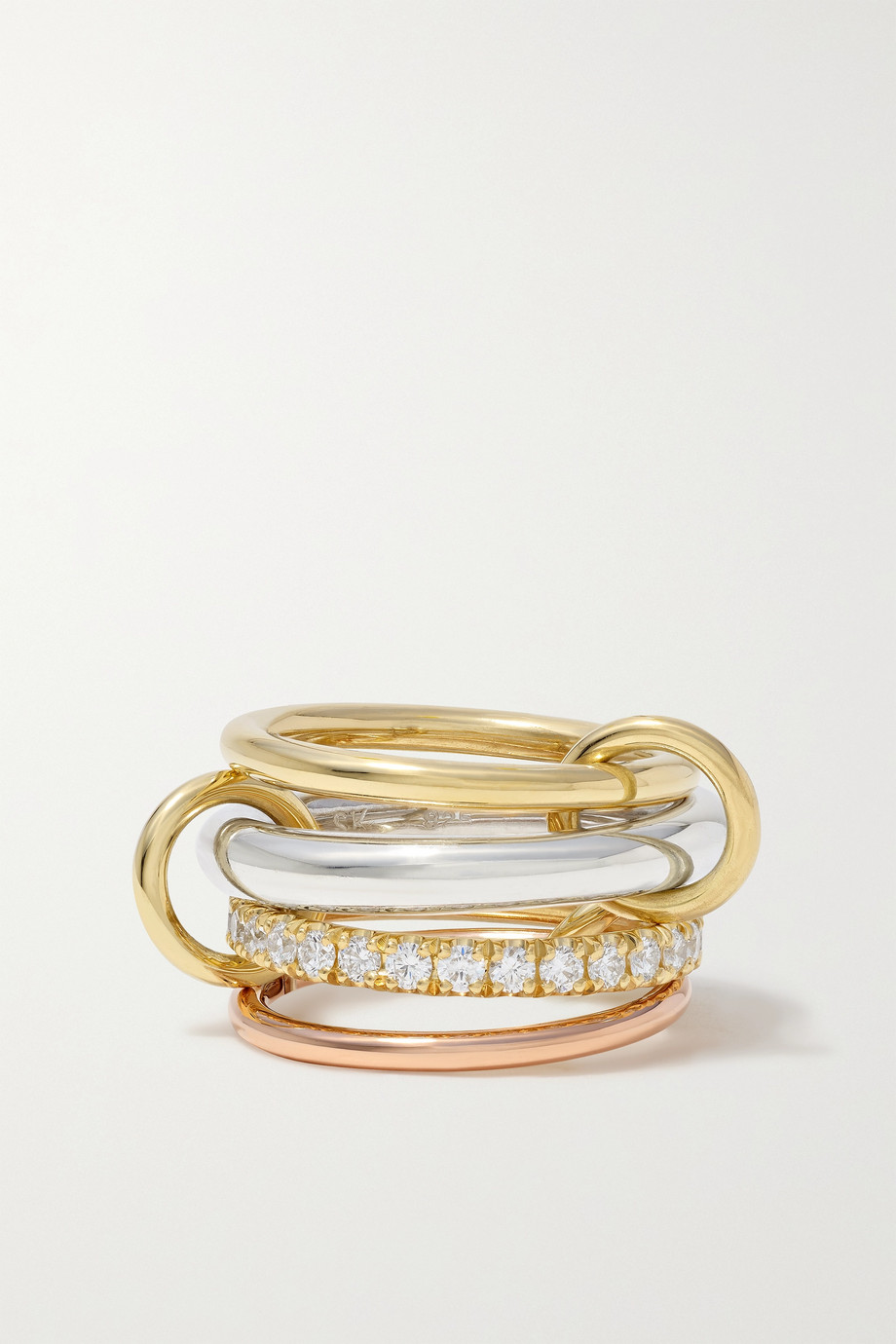 Spinelli Kilcollin Janssen set of four 18-karat yellow and rose gold and sterling silver diamond rings