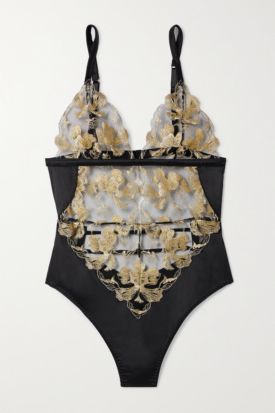 Coco de Mer Aria metallic embroidered tulle and satin bodysuit