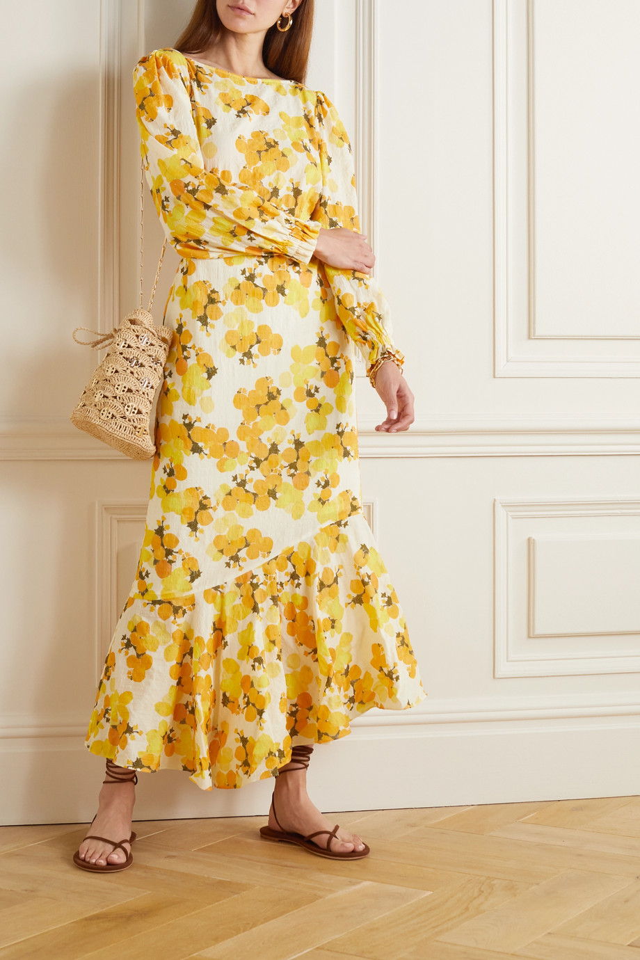 Peony + NET SUSTAIN Kleid aus einer bedruckten Mischung aus Biobaumwolle und ECOVERO™ mit Cut-out