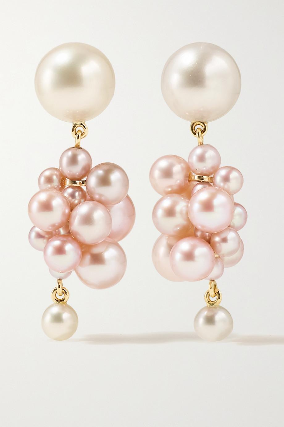 Sophie Bille Brahe Botticelli Rose 14-karat gold pearl earrings