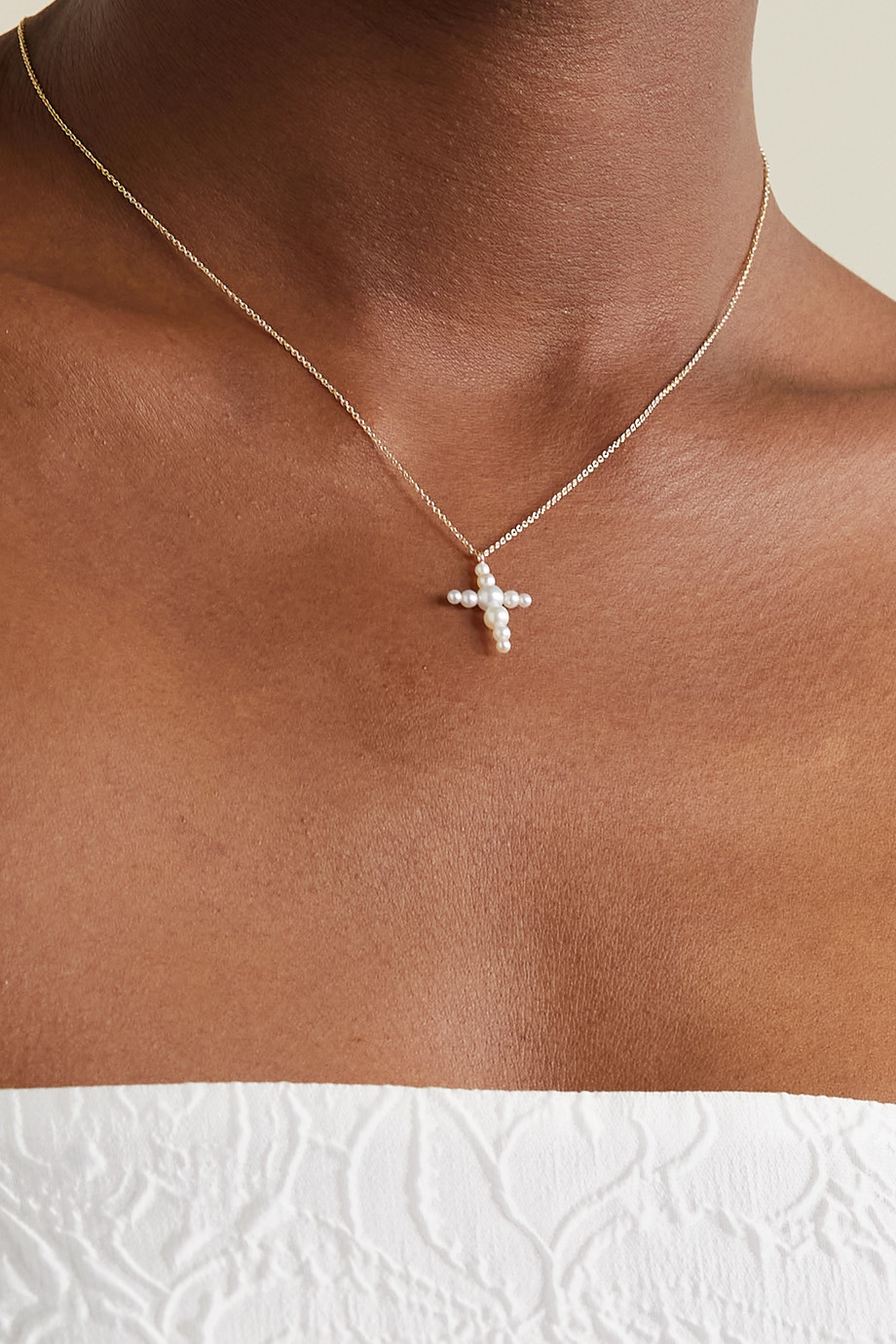 Sophie Bille Brahe Petite Fellini 14-karat gold pearl necklace
