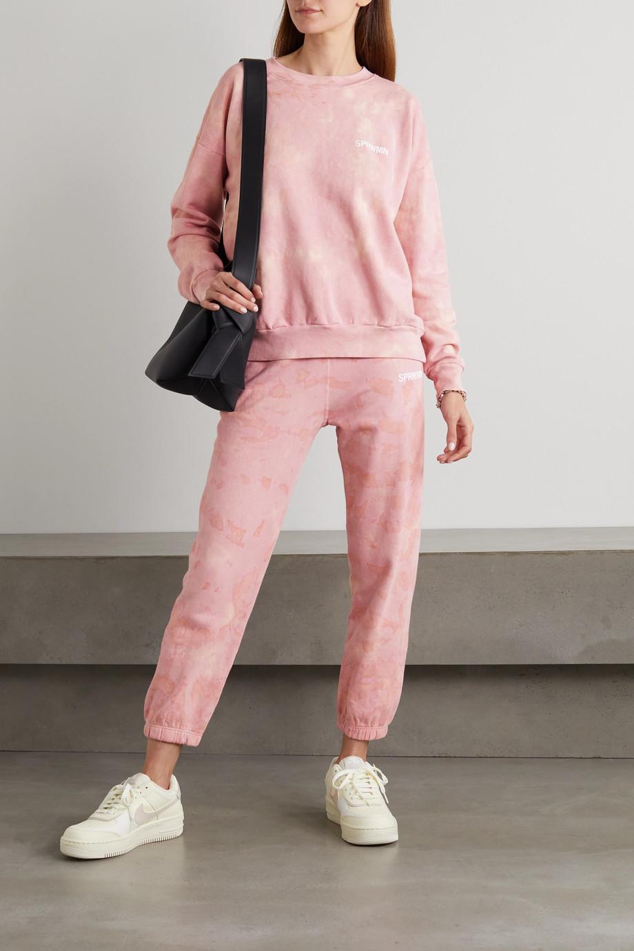 SPRWMN Sweatshirt aus Baumwoll-Jersey mit Batikmuster und Print