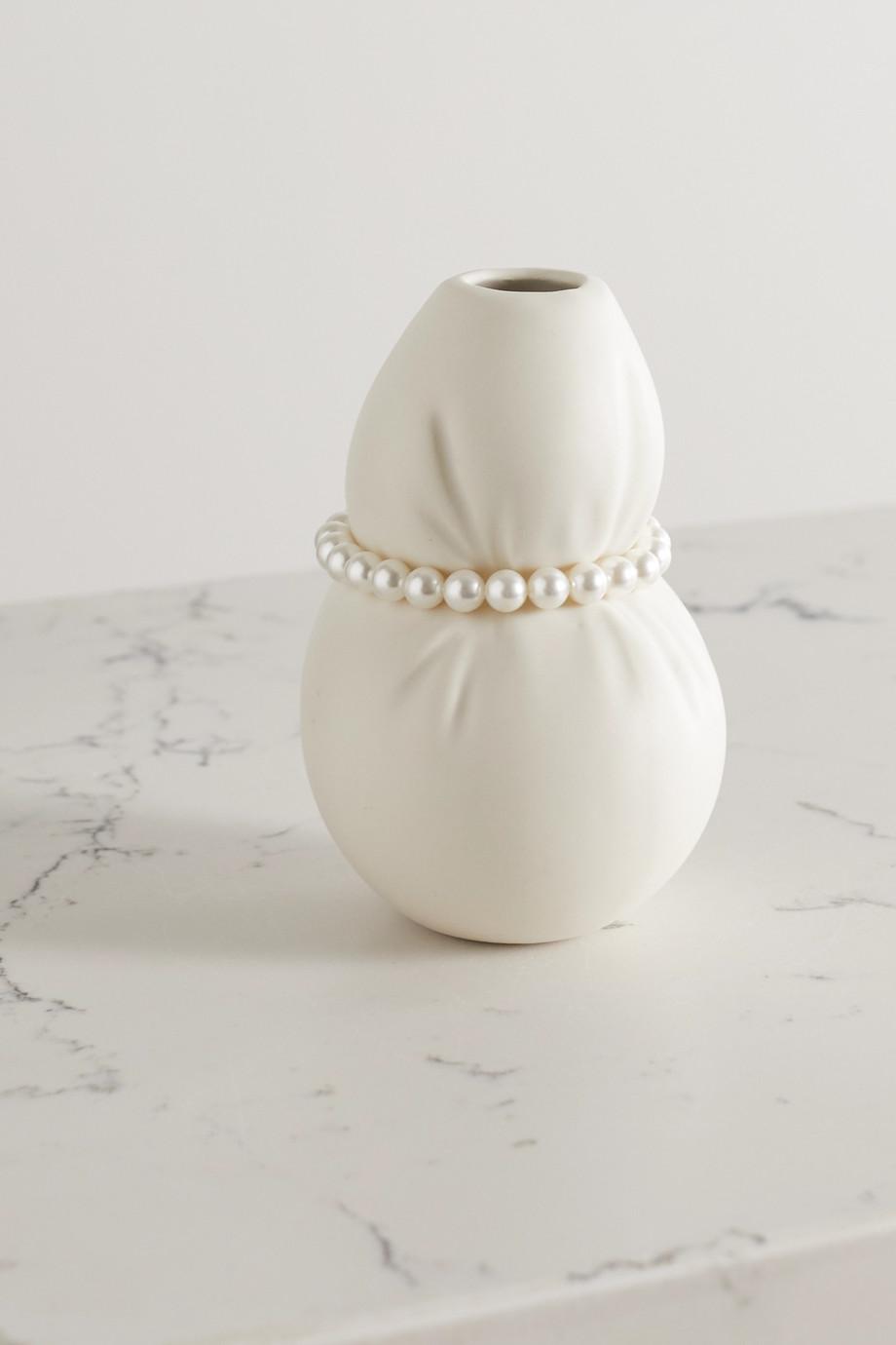 Completedworks Vase aus Keramik mit Kunstperlen