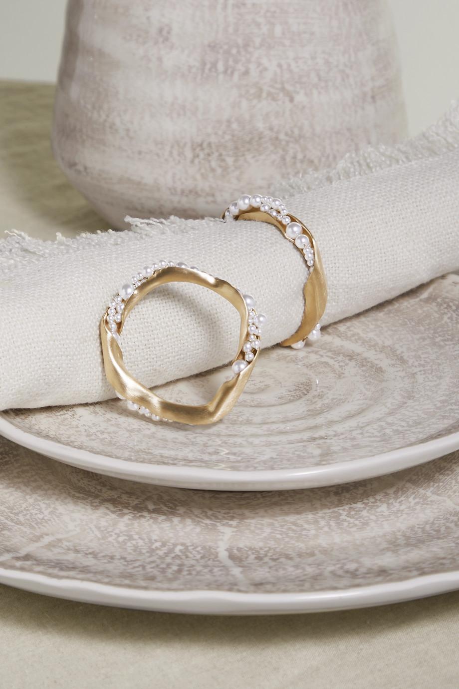 Completedworks Set de deux ronds de serviette en métal doré et perles synthétiques