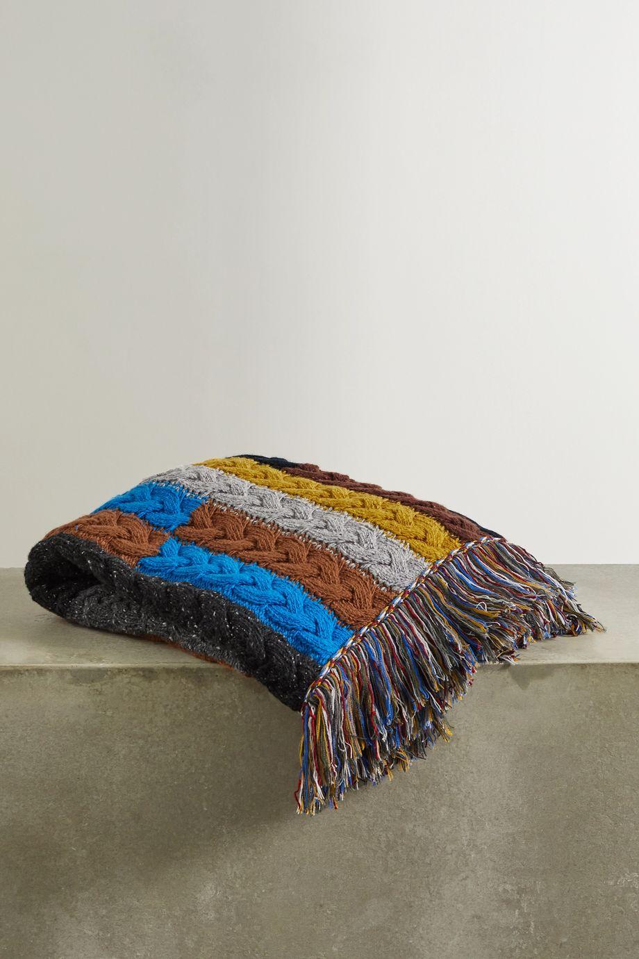 Alanui Tierra del Fuego gestreifte Decke aus einer Woll-Kaschmirmischung in Zopfstrick mit Fransen