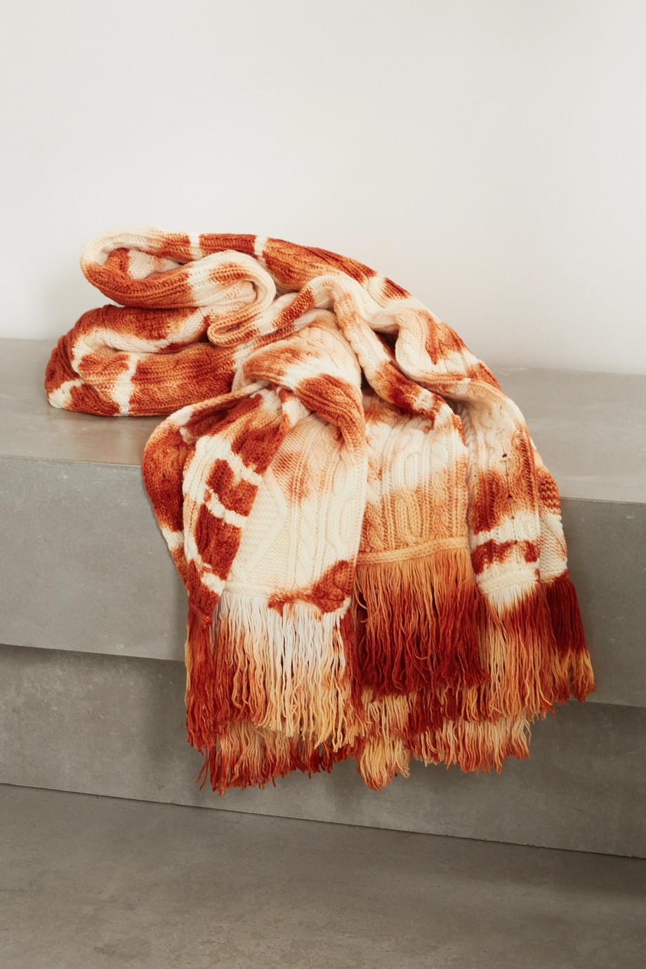 Alanui Plaid en laine tie & dye à mailles torsadées et à franges Piedras Rojas
