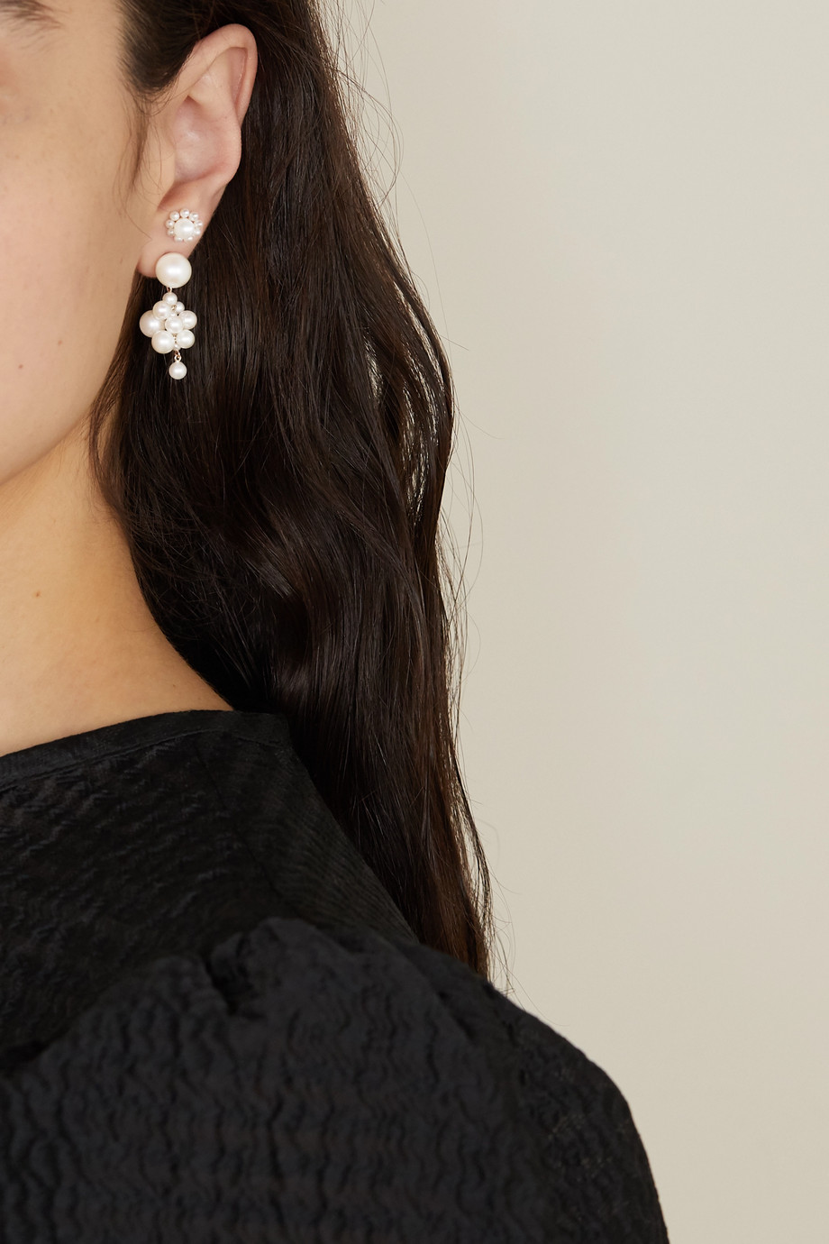 Sophie Bille Brahe Botticelli 14-karat gold pearl earrings
