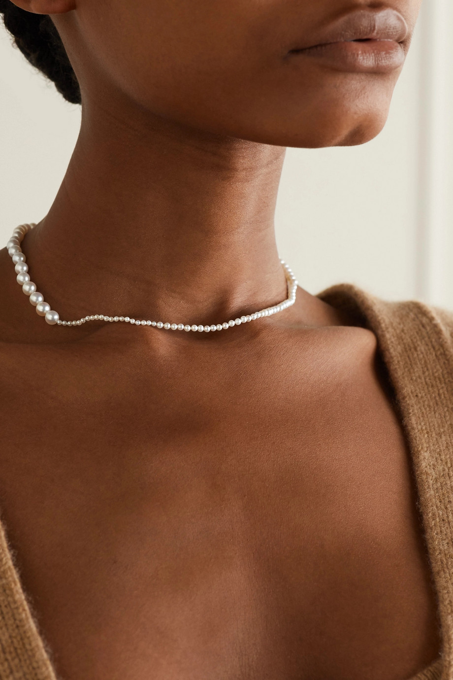 Sophie Bille Brahe Petite Peggy 14-karat gold pearl necklace