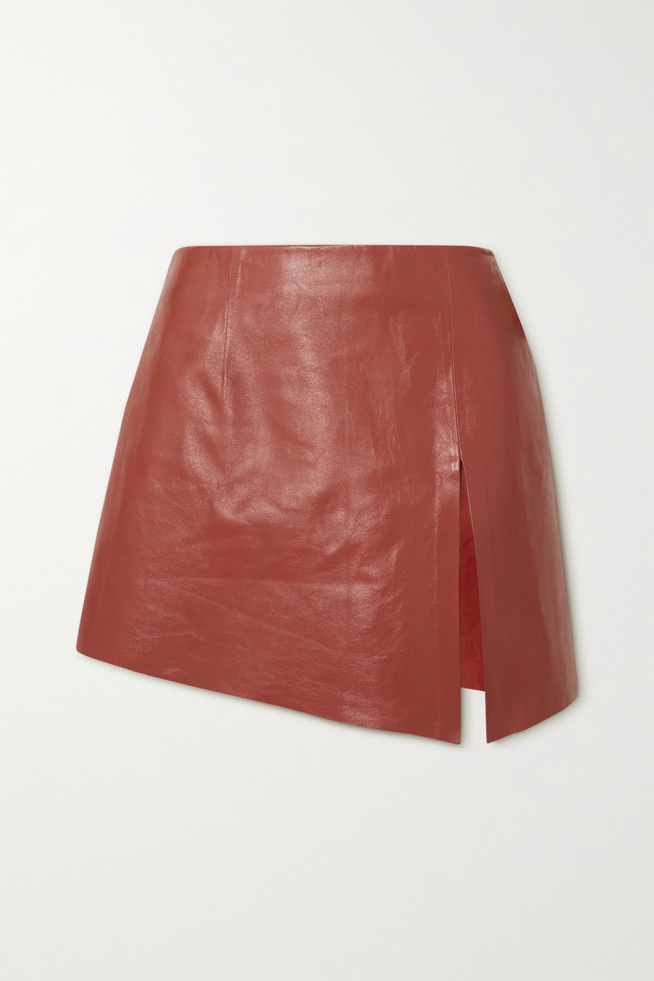 Zeynep Arçay Asymmetric leather mini skirt