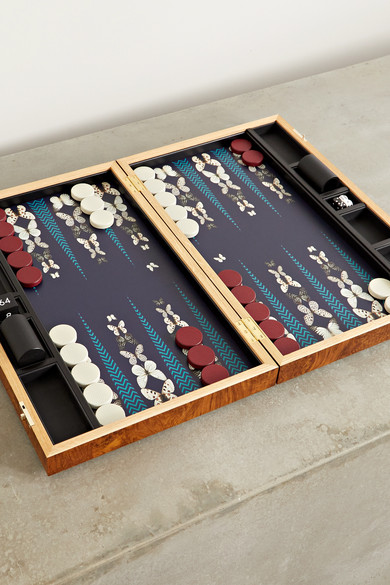 Alexandra Llewellyn Photographic London Oak And Textured-leather Backgammon Set In Navy