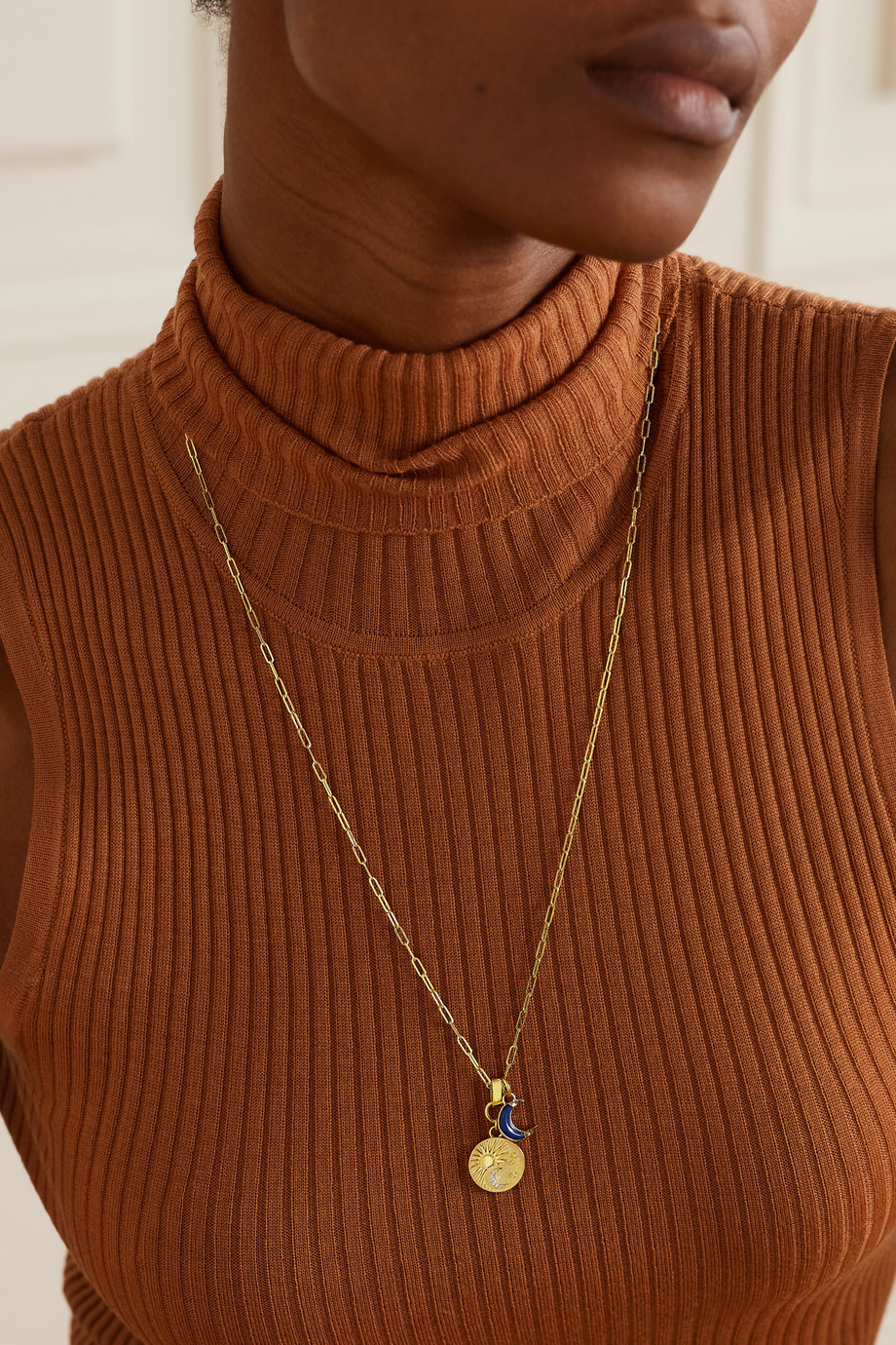 Foundrae Balance Kette aus 18 Karat Gold mit Lapislazuli und Diamanten