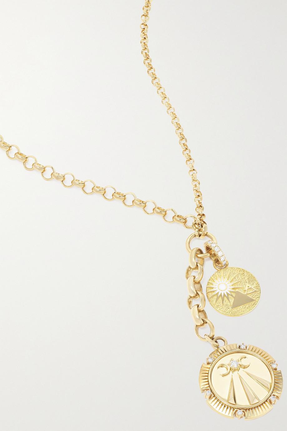 Foundrae Mind Body Soul and Balance Kette aus 18 Karat Gold mit Emaille und Diamanten