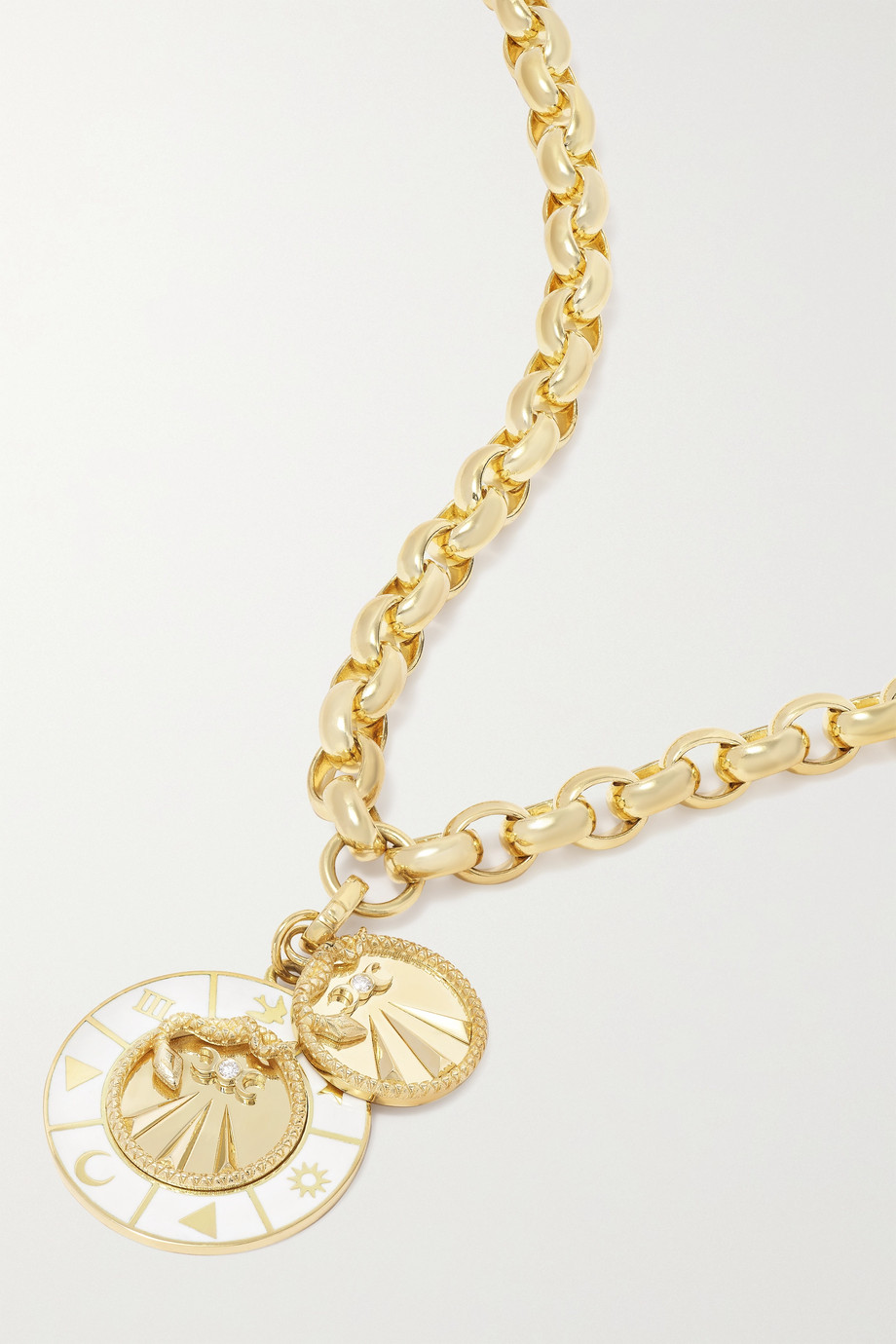 Foundrae Mind Body Soul and Wholeness 18-karat gold, enamel and diamond necklace
