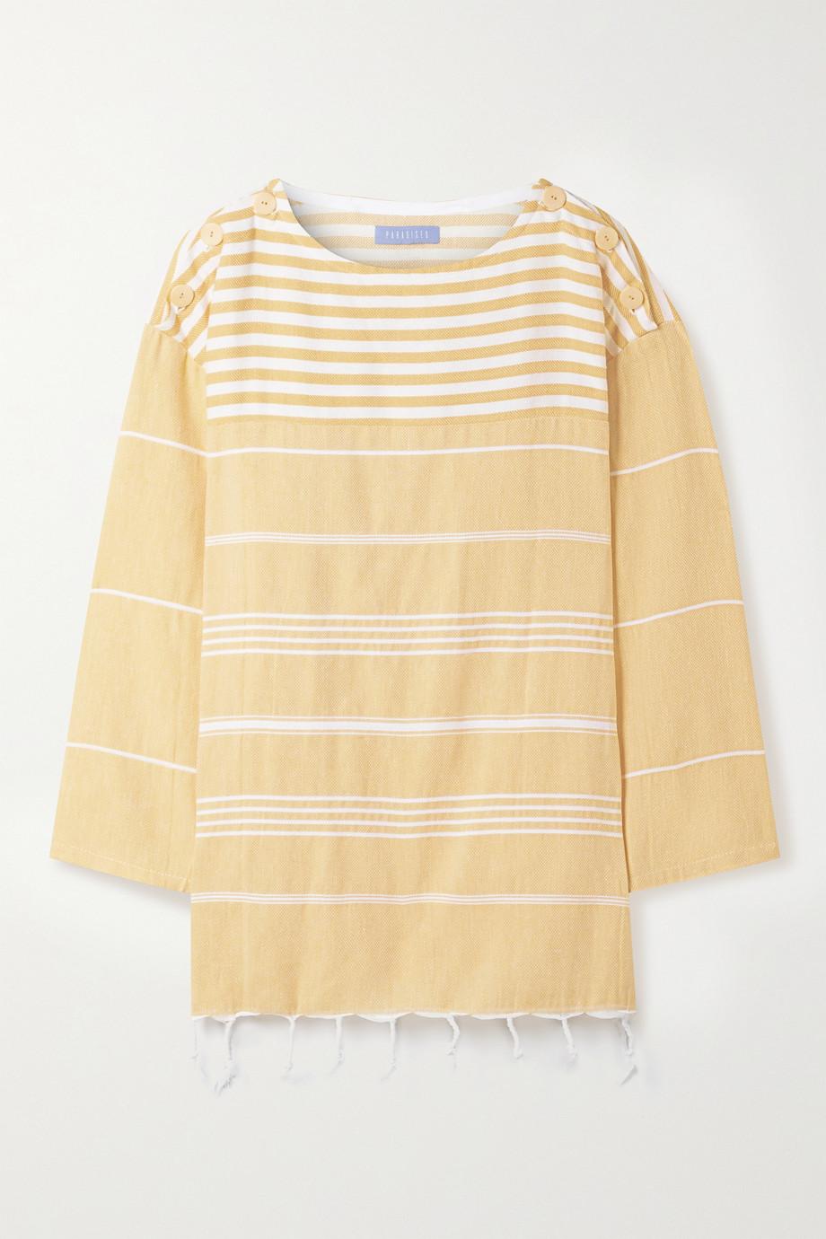 Paradised + NET SUSTAIN Waverunner fringed striped cotton tunic