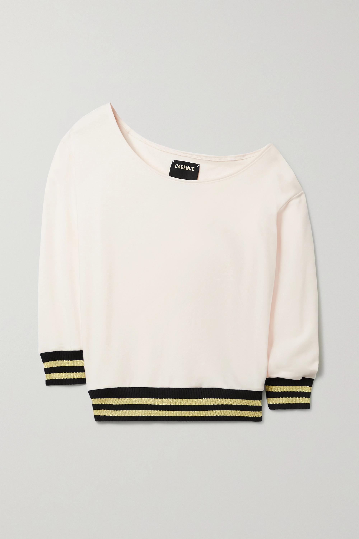 L'Agence - Kimora one-shoulder stretch cotton and modal-blend sweatshirt