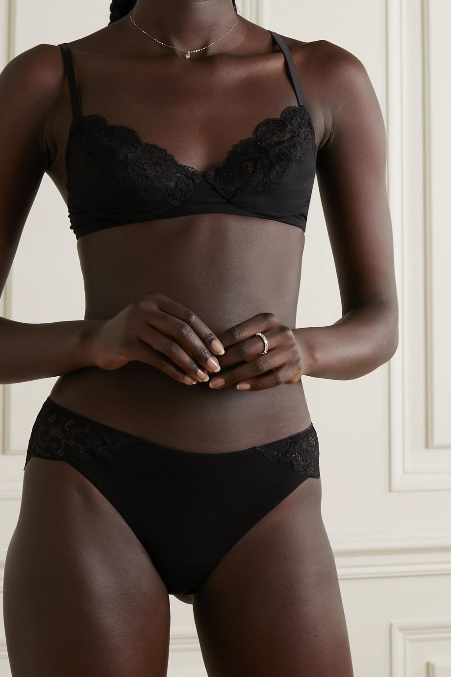 I.D. Sarrieri Anna lace and Micro Modal-blend jersey soft-cup bra