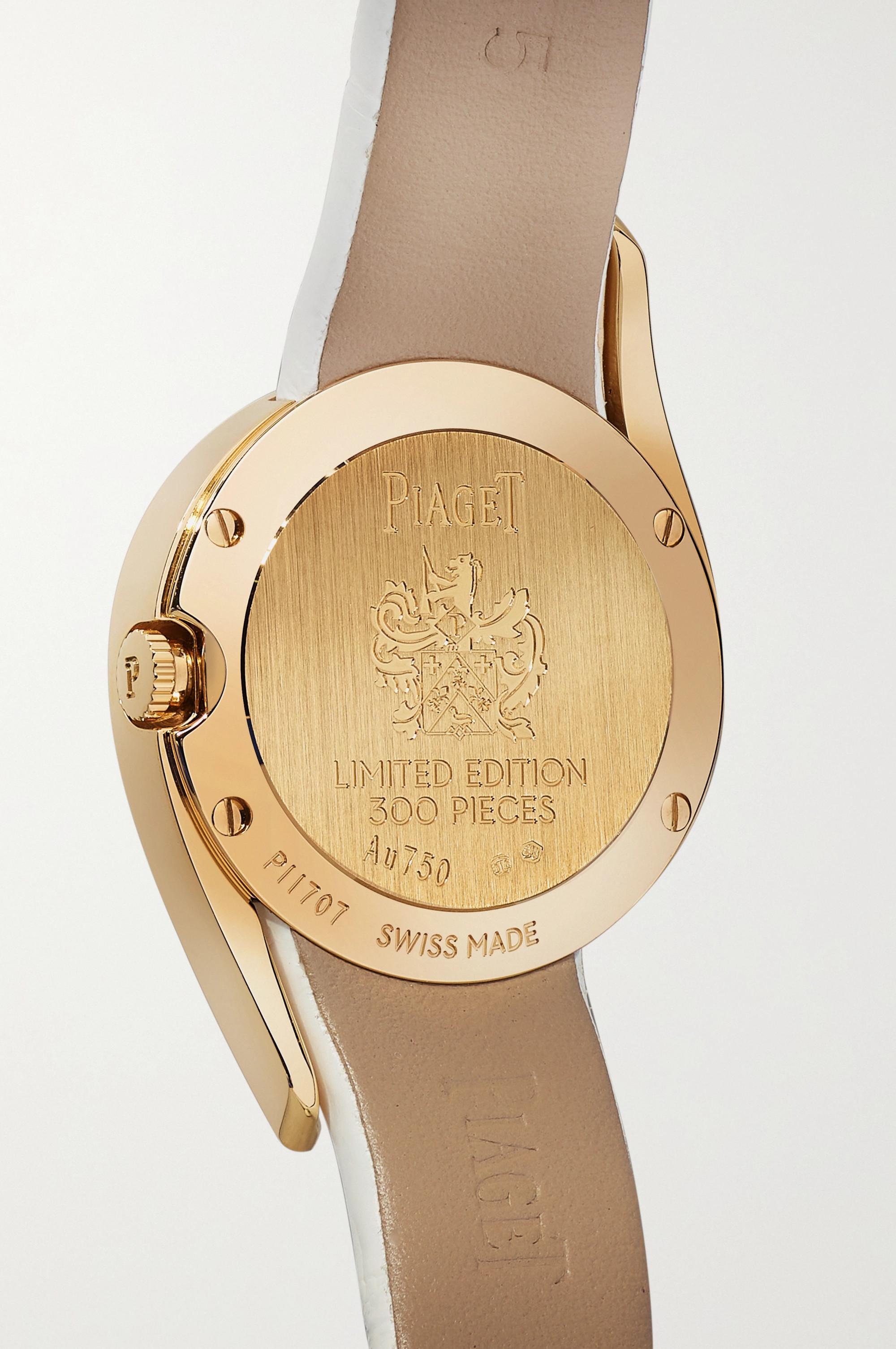 Piaget Limelight Gala Limited Edition 32 mm Uhr aus 18 Karat Roségold mit Diamanten, Perlmutt und Alligatorlederarmband