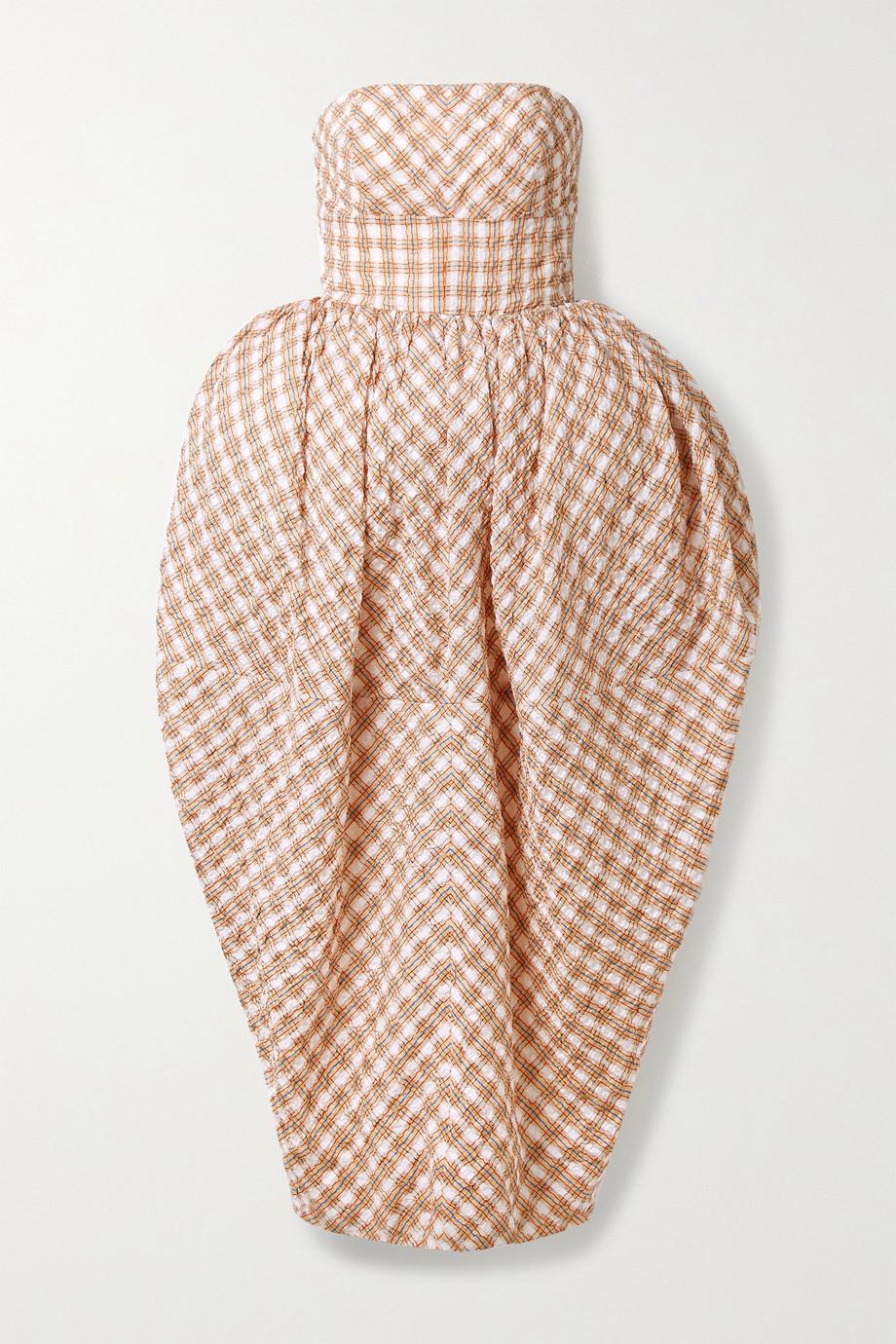 Christopher John Rogers Trägerlose Robe aus kariertem Seersucker