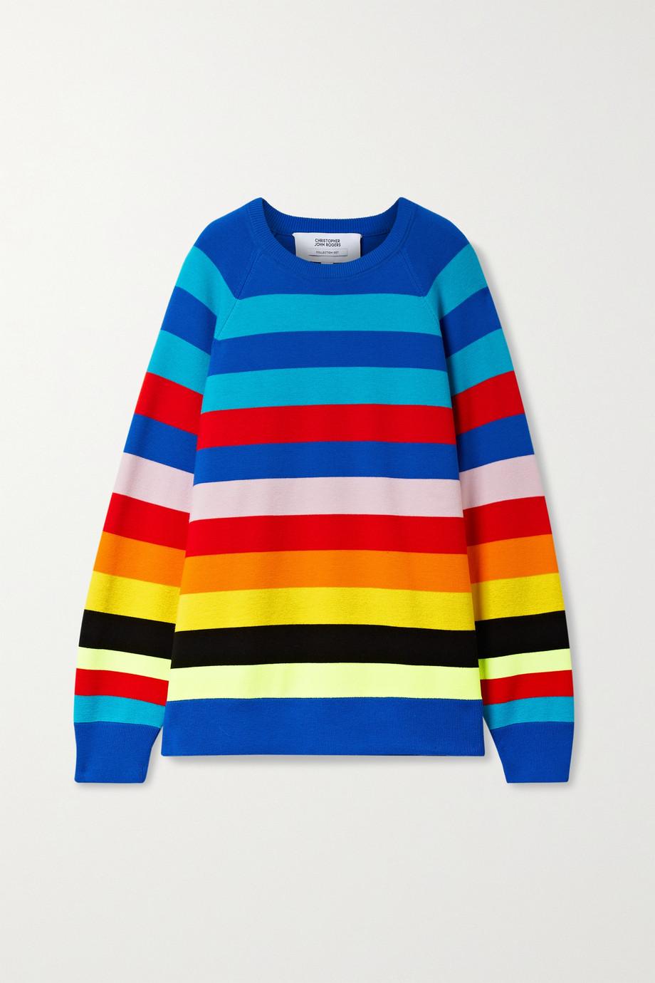 Christopher John Rogers Striped wool-blend sweater