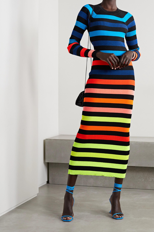 Christopher John Rogers Open-back striped ribbed-knit midi dress