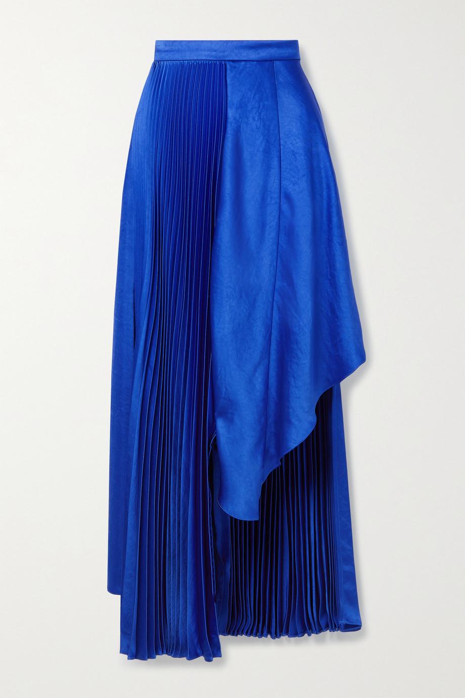 Christopher John Rogers Asymmetric pleated satin skirt