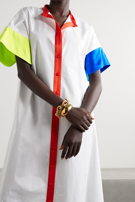 Christopher John Rogers Color-block satin-trimmed cotton-poplin shirt dress