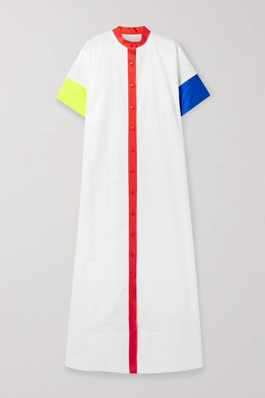 Christopher John Rogers Robe-chemise en popeline de coton à finitions en satin