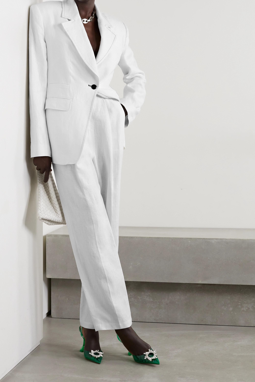 Christopher John Rogers Color-block pleated linen straight-leg pants