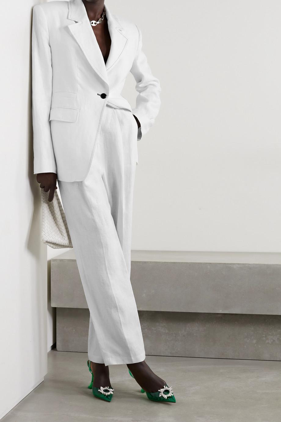 Christopher John Rogers Pantalon droit en lin à plis